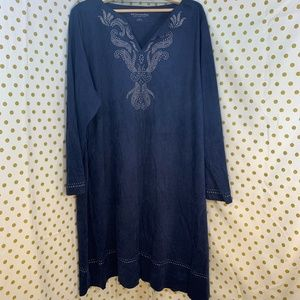 Soft Surroundings blue faux suede dress 3X NEW